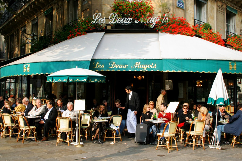Les Deux Magots in Paris, France.