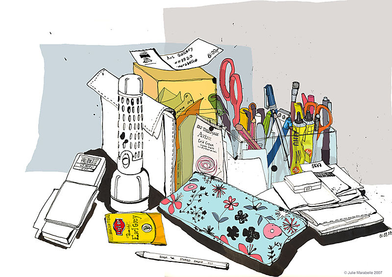 famillesummerbelle_messy desk ink drawing