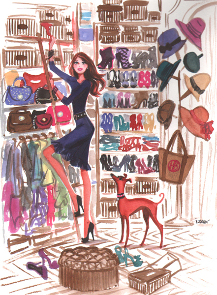 Closet Organizing. Illustration by Izak