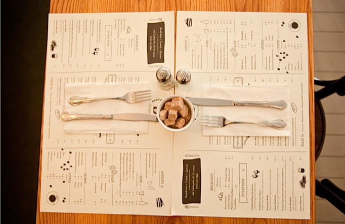 Menu Placemat settings at Jack's Wife Freda. Photo credit: Art of the Menu, Under Consideration.